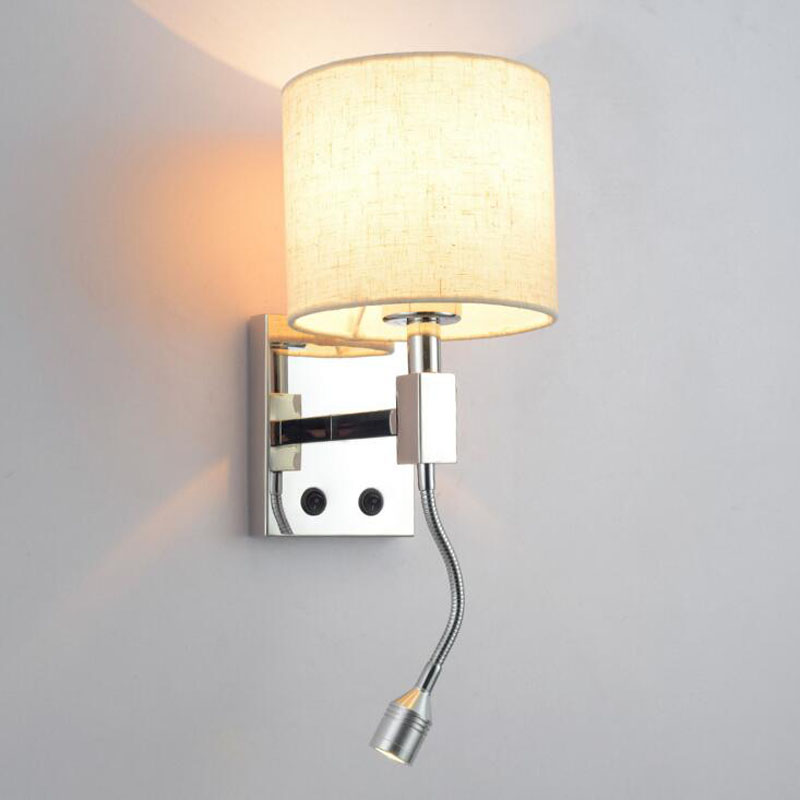 Modern minimalist warm bedroom bedside wall lamp led creative hotel room with switch stainless steel wall lamp led lighting lamp цена