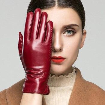 KLSS Brand Genuine Leather Women Gloves Fashion Elegant Touchscreen Goatskin Glove Autumn Winter Keep Warm Five Fingers 22