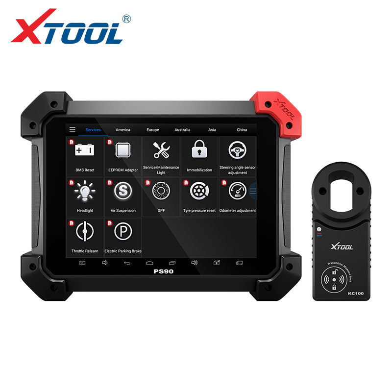 PS90 Automotive OBD2 Car Diagnostic tool With KC100 key programmer For VW 4th 5th IMMO 9.7 inch LED Display 3 Year free update