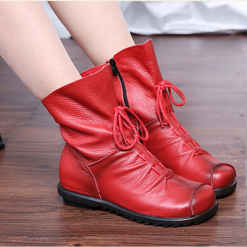 2017 Vintage Style Genuine Leather Women Boots Flat -7468