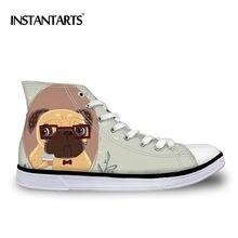 a35a66d61 Cão Pug INSTNTARTS Flats Sapatos de Alta-top Sapatos de Lona das Mulheres  3D Pet Dog Impressão Feminino Rendas Até Alta top Sapa.