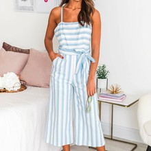 все цены на BEFORW 2019 Sexy Straps Striped Summer Jumpsuit Women Sleeveless Lace Up Striped Jumpsuit Ladies Streetwear Casual Jumpsuit онлайн