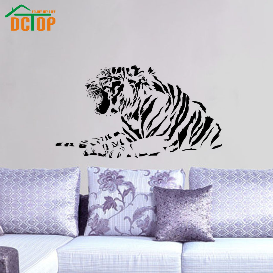 Growling Tiger Wall Sticker Fiercely Animal Vinyl Decal Removable Vintage Wallpaper Creative Posters Art stickers Diy Home Decor