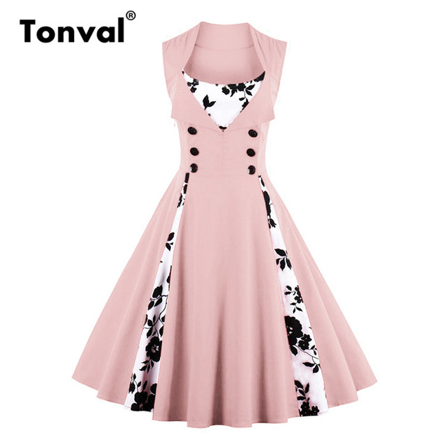 Tonval 5XL Plus Size Vintage Rockabilly Pink Dress Women Floral Contrast Dress  Elegant Button Tunic Swing Dress 0676b0c08dde