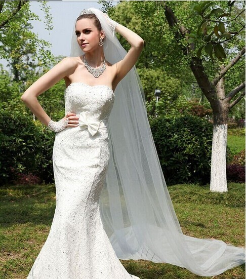 Hot Sale Cheap Long Bridal Veil with Comb One Layer 3 Meters Cut Edge Wedding Accessories Voile de Mariage