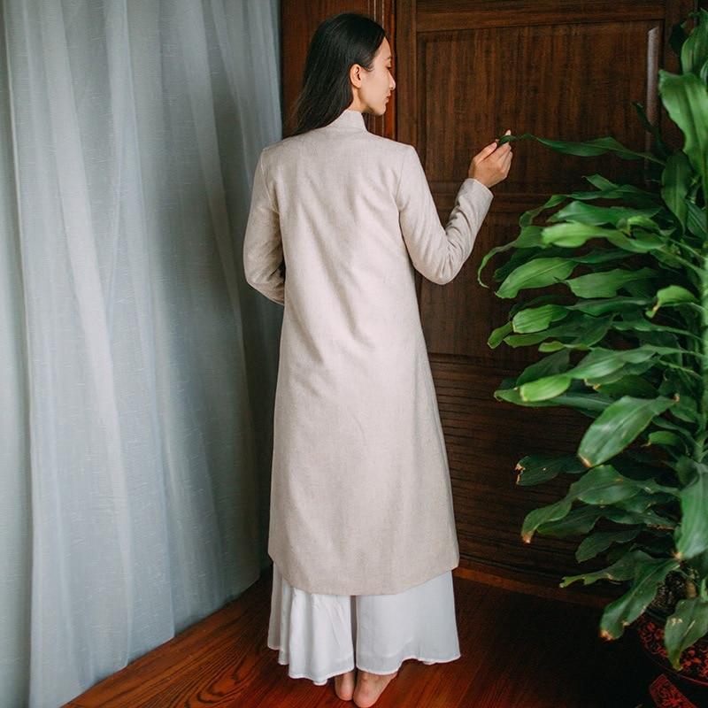 Nouvelle Beige Chinois Longues Outer Plaque Bouton Femmes Couleur Manches Automne Zen Rétro Style Couleurs Méditation Thé Stand fd1Rq1w