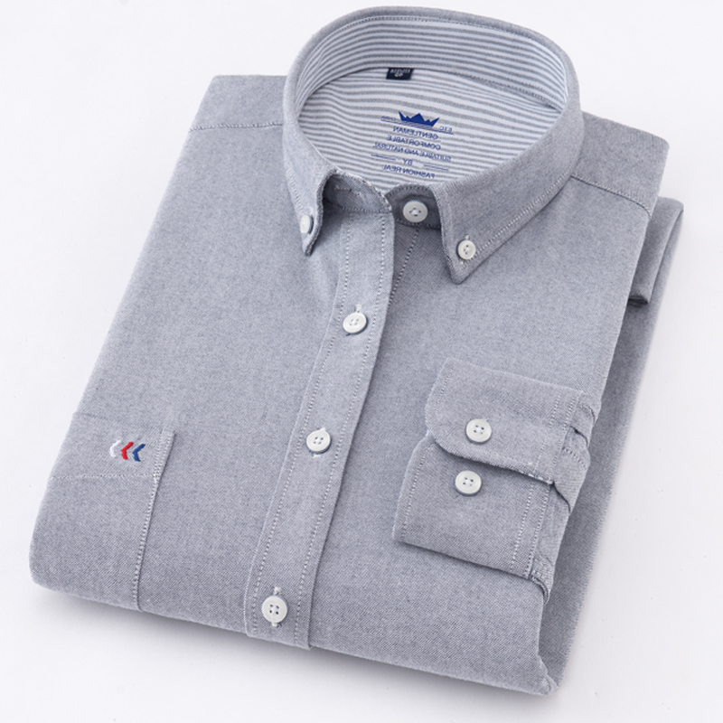 Image 3 - Mens Oxford Solid Pure color 100% Cotton Business Casual Shirt Men Top Sell High Quality Classic Design Mens Dress ShirtsDress Shirts   -