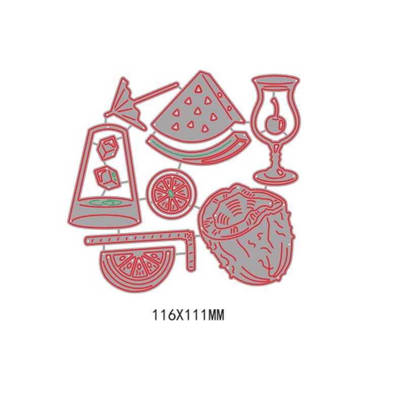 13pcs Summer Drink Fruit Set Metal Cutting Dies Stencil for DIY Scrapbooking Album Embossing Paper Cards Decorative Crafts