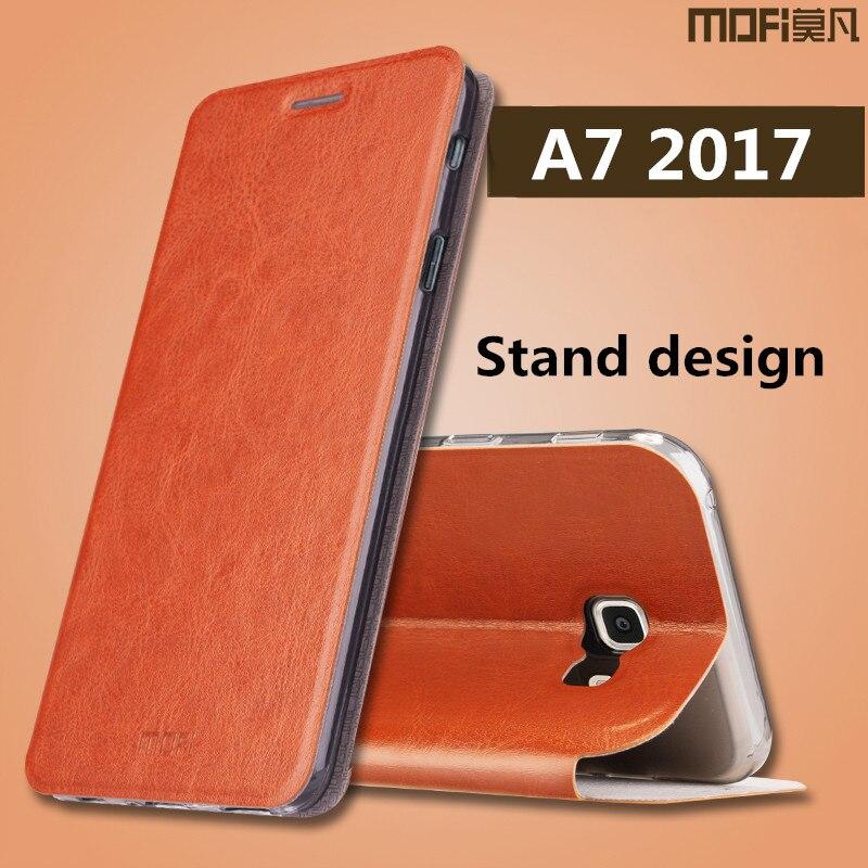 premium selection a2a46 751ea US $9.99 |for Samsung A7 2017 case Samsung Galaxy A7 2017 case cover flip  leather MOFi original galaxy a7 2017 back silicon case 5.7