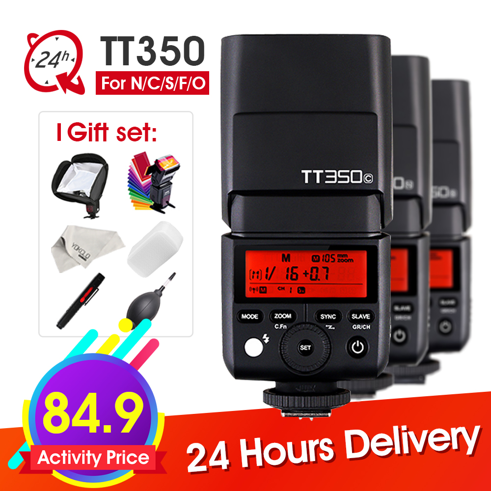 Godox Mini Speedlite TT350 Camera Flash 2.4G HSS 1/8000s TTL HSS GN36 for Canon Nikon Sony Olympus Panasonic Fujifilm + Gifts f053 gn camera bag for canon nikon sony samsung black green