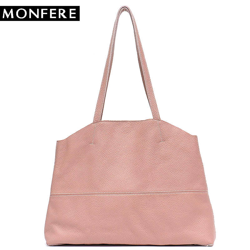 MONFERE Causal Tote Genuine Leather Shoulder Bags& Handbag for Women 2018 England Style Solid Hasp Big Cow Leather Bag&Liner Bag metallic hasp pu leather tote bag