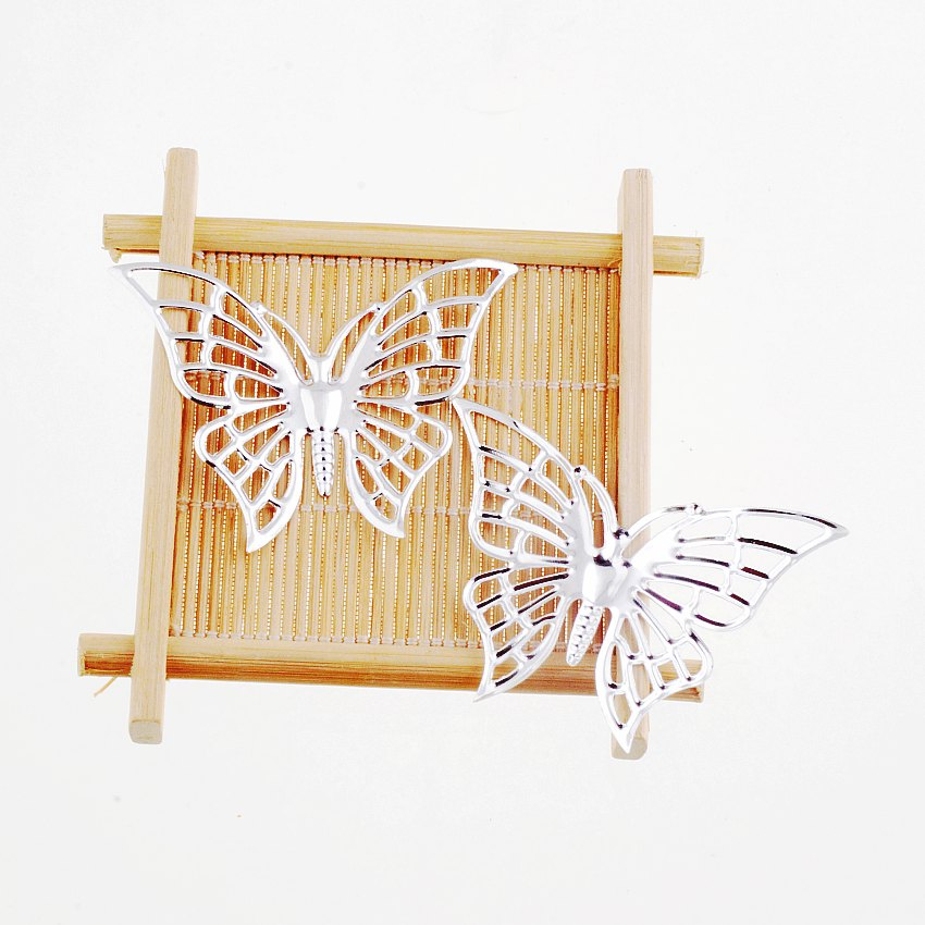 Free Shipping Retail 5Pcs Silver Plated Butterfly Filigree Wraps Connectors Metal Crafts Gift Decoration DIY 45x61mm F1631