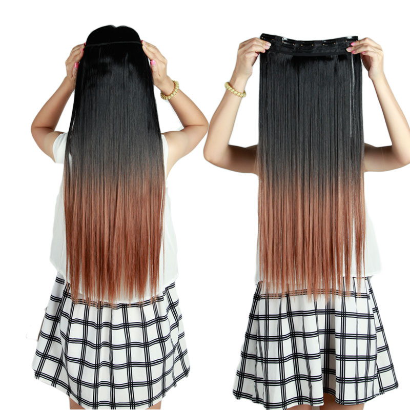 Women fashion 25inch 62cm one piece clip in hair extention ombre women fashion 25inch 62cm one piece clip in hair extention ombre colored wavy hair extensions black brown blonde gray red on aliexpress alibaba group pmusecretfo Images