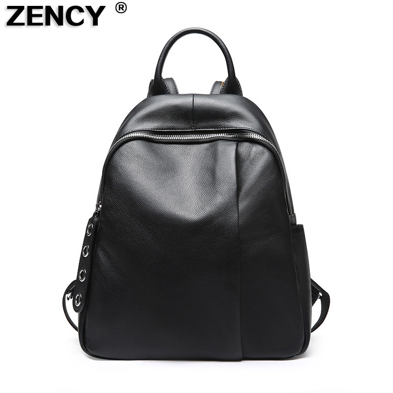 ZENCY 100% Genuine Leather Women Shopping Backpacks First Layer Cow Leather Ladies School Casual Designer Bag Cowhide Backpack