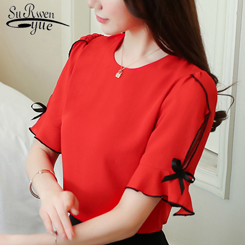 summer women   blouse     shirt   fashion 2019 bow short sleeve chiffon women's clothing sweet o-neck red feminine tops blusas D621 30