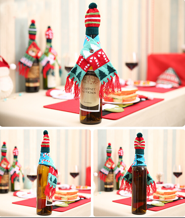 Xmas Wine Bottle Cover Christmas Cute Pattern Knitted Wine Bottle