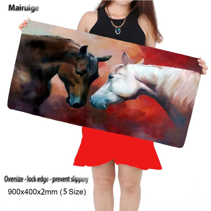 Able Mairuige Free Shipping Gray White Horses 900*400*2mm Speed Locking Edge Keyboards Mat Gaming Mouse Pad Desk Mat For Cs Go Dota2