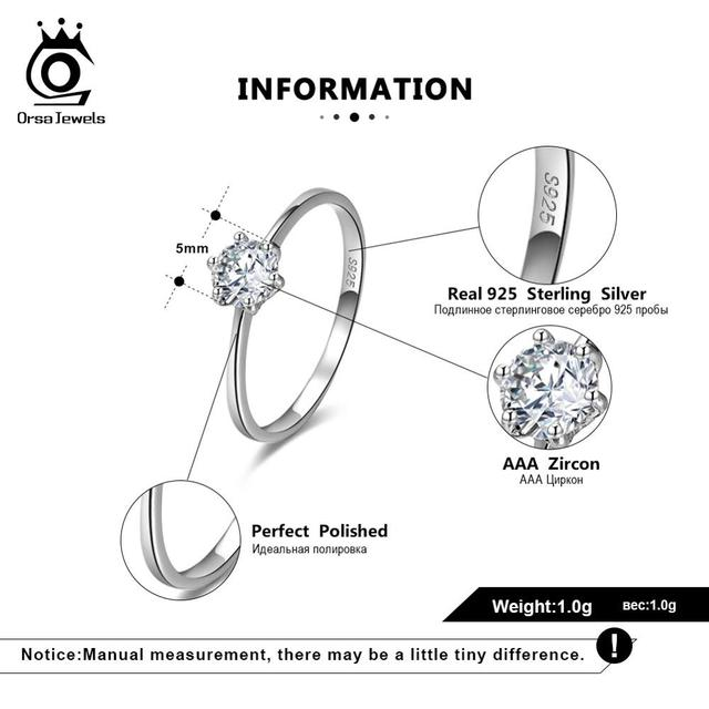 ORSA JEWELS Real 925 Sterling Silver Women Solitaire Rings Cubic Zircon Female Wedding Ring Fashion Jewelry For Any Party SR116 4