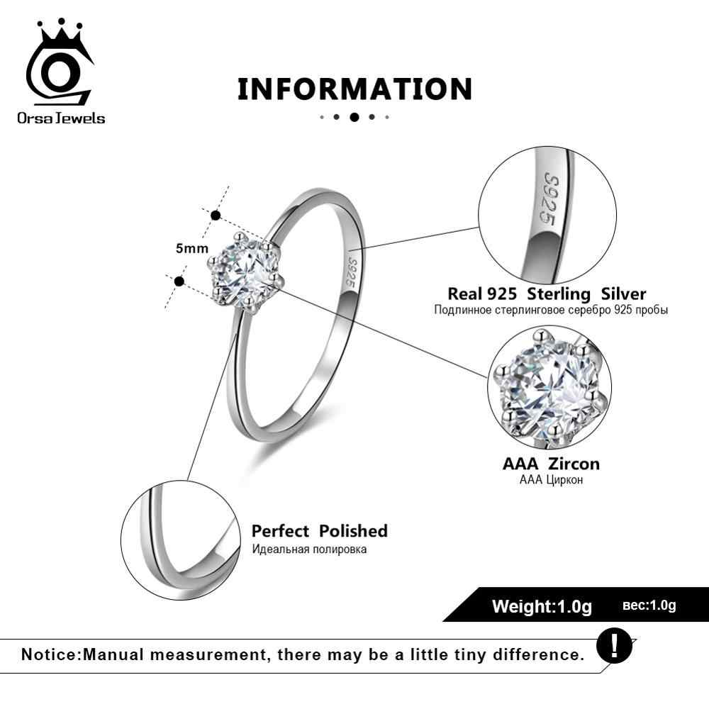 Orsa Juwelen Real 925 Sterling Zilver Vrouwen Solitaire Ringen Kubieke Zirkoon Vrouwelijke Trouwring Sieraden Voor Elke Party SR116