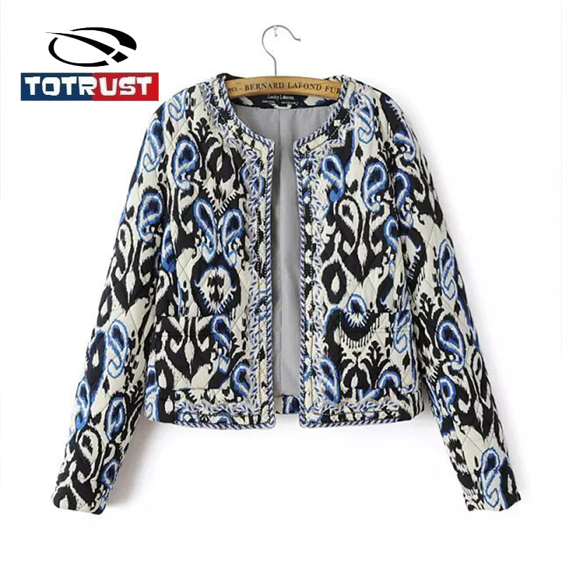 TOTRUST Floral Print   Jacket   Coat Women 2018 Fashion Lady Vintage Thin Padded Cardigan Women Short Coats Outwear   Basic     Jackets