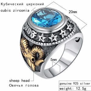 Image 2 - ZABRA 925 Silver Blue Zircon Men Ring Vintage Stone Punk Rock Gold Sheep Head Thai Handmade Women Rings Sterling Silver Jewelry