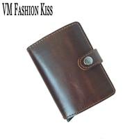 VM FASHION KISS Single Box Prevents RFID Leakage Genuine Leather Mini Safe Aluminum Antimagnetic Credit Card