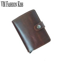 VM FASHION KISS Single Box Prevents RFID Leakage Genuine Leather Mini Safe Aluminum Antimagnetic Credit Card