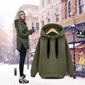 Winter Women Tracksuit Loose Cotton Hooded Warm Velvet Long Sleeve Army Green Sweatshirt Pullover Hooded Sudaderas Mujer xxl