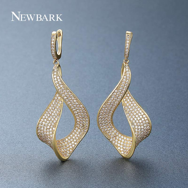 NEWBARK Fashion Flower White Gold Drop Earring Paved AAA Cubic Zirconia Gold Wedding Earrings for Women