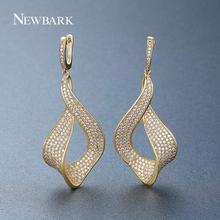Newbark Мода цветок белый золотые серьги проложили AAA + Цирконий золотые свадебные Серьги для Для женщин brincos