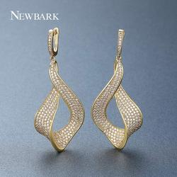 NEWBARK Fashion Flower White Gold Drop Earring Paved AAA+ Cubic Zirconia Gold Wedding Earrings for Women Brincos