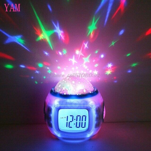 Sky Star Children Baby Room Night Light Projector Lamp Bedroom Music Alarm Clock S08 Wholesale&DropShip