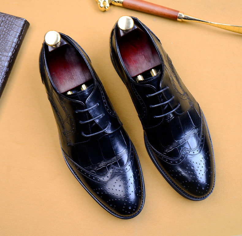 QYFCIOUFU 2019 New Fashion Brogue Shoes Men Pointed Toe Mens Dress Shoes Office Handmade Genuine Leather Formal Shoes EU Size 46 in Formal Shoes from Shoes