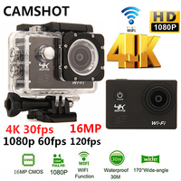 CAMSHOT Outdoor Sport Action Camera WIFI 4K 30fps 2 0LCD 1080P 60fps Underwater Waterproof Diving Surfing