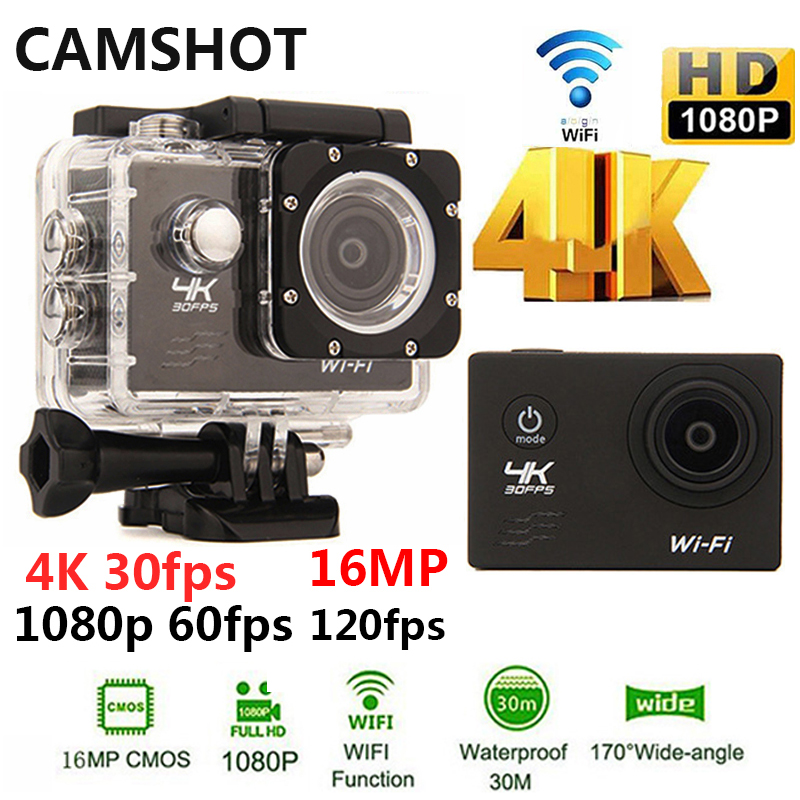 CAMSHOT Outdoor Sport Action Camera WIFI 4K 30fps 2.0LCD 1080P 60fps underwater waterproof diving Surfing cycling helmet Cam
