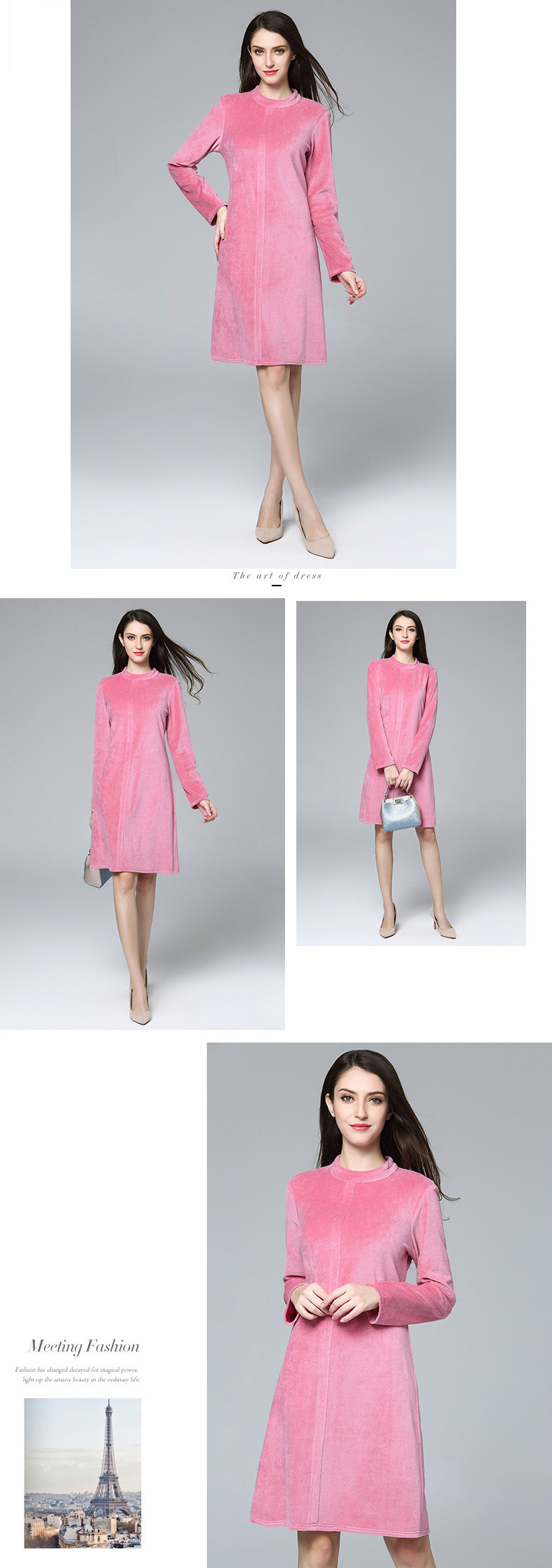 ATOFUL Women Dress Vintage Elegant Simple Solid Pink Velvet Dress ... 0c9dacf6e5c8