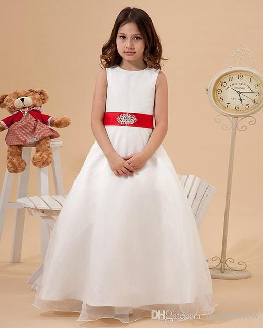 5f93fca5016 Simple Pretty A line White Organza Flower Girl Dresses with red sash ...