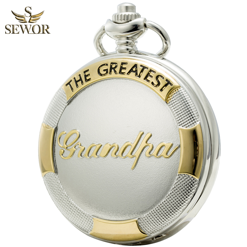 Hot !2017 SEWOR Top Brand New Fashion Sliver Roman Numbers Mens Collectors Edition Pocket Watch C197