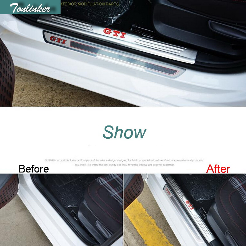 Tonlinker new 4 pcs stainless steel Inner/Outer door pedal Case Cover Sticker For Volkswagen POLO all models Hatchback 2011-16 built guard bump guard plate after the pedal steel trunk for 2011 2012 2013 2014 vw volkswagen polo hatchback