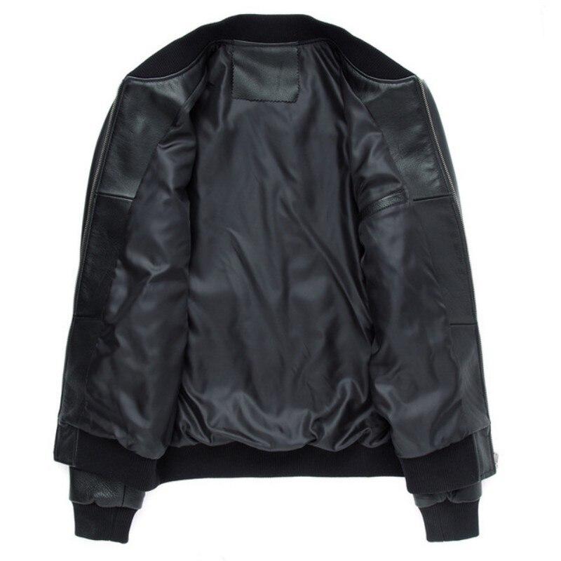 Nouveau Black Véritable Cowskin Réel Manteaux Noir En Marque Luxe De Hommes Veste Vestes Bomber Vachette Aviation Cuir Pilote HqfTa1wfx