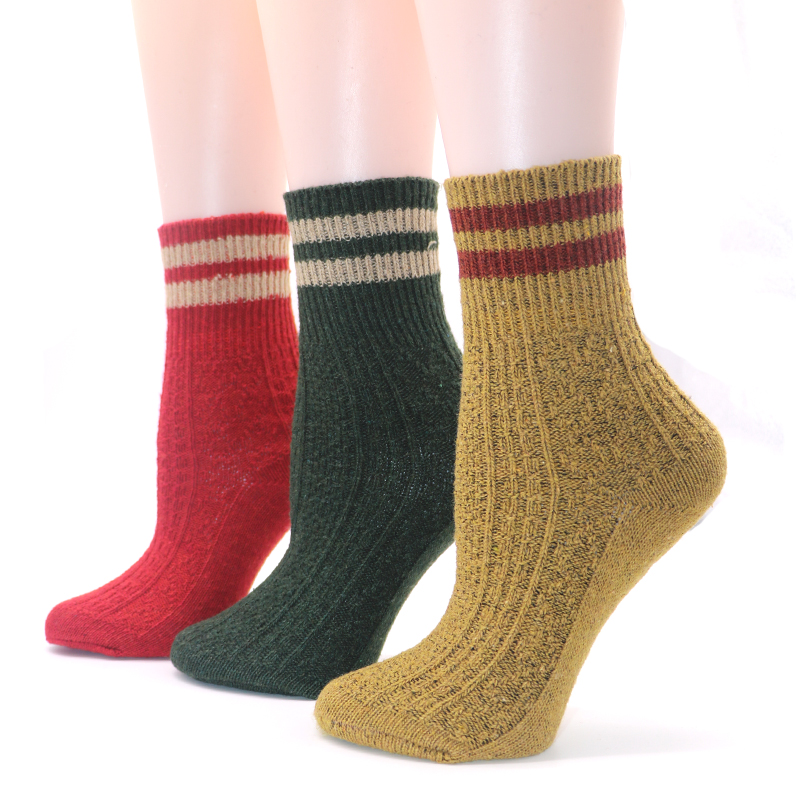 a02a41f41830 5Pairs Knitted Winter Warm Socks Design Solid Color Male Stripe Art ...