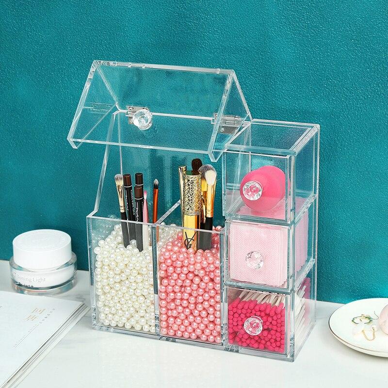Organizador de maquillaje acrílico AF con 2 bolsas de perlas, caja de exhibición de cepillos de maquillaje, caja de almacenamiento de herramientas cosméticas, caja de accesorios de joyería - 2