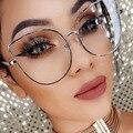 Mulheres de tamanho grande De Metal Gato Olho Quadro Óculos de Marca Designer de Moda Homens Óculos de Lente Clara