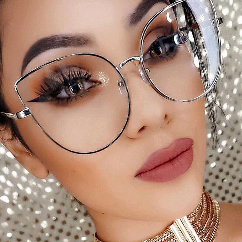 SHAUNA Oversize Women Metal Cat Eye Glasses Frame Brand Designer Fashion Men Clear Lens Eyeglasses