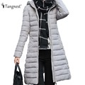 TANGNEST 2016 New Winter Down Coat European Simple Fashion Maxi Warm Slim Hooded Coats Long Sleeve Outwear WWM1507