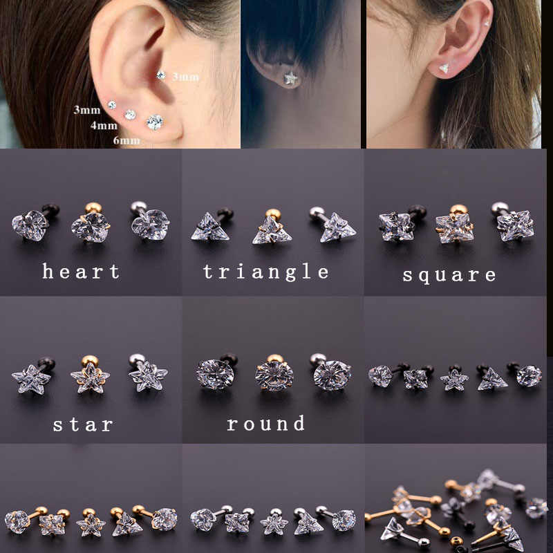 Sellsets gold black silver color surgical steel square round heart triangle square zircon cartilage tragus helix ear piercing