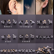Sellsets gold black silver color surgical steel square round heart triangle square zircon cartilage tragus helix ear piercing(China)