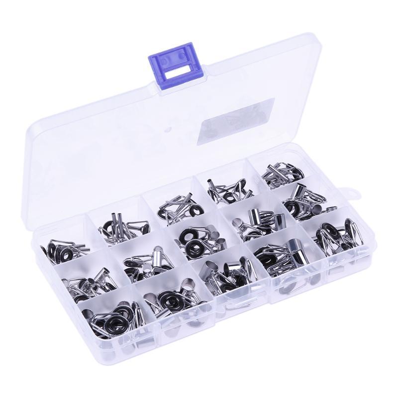 75 pièces/boîte anneaux de canne à pêche 15 tailles pesca en acier inoxydable canne à pêche Guide anneau ensemble oeil canne à pêche outil