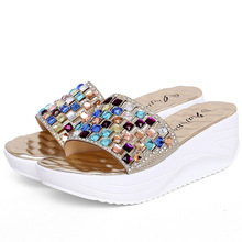 SUMMER STYLE Color Rhinestone Wedge Slide Sandals Women Summer Shoes Bohemia Style Fashion Sandals Size35-39 Gold Silver