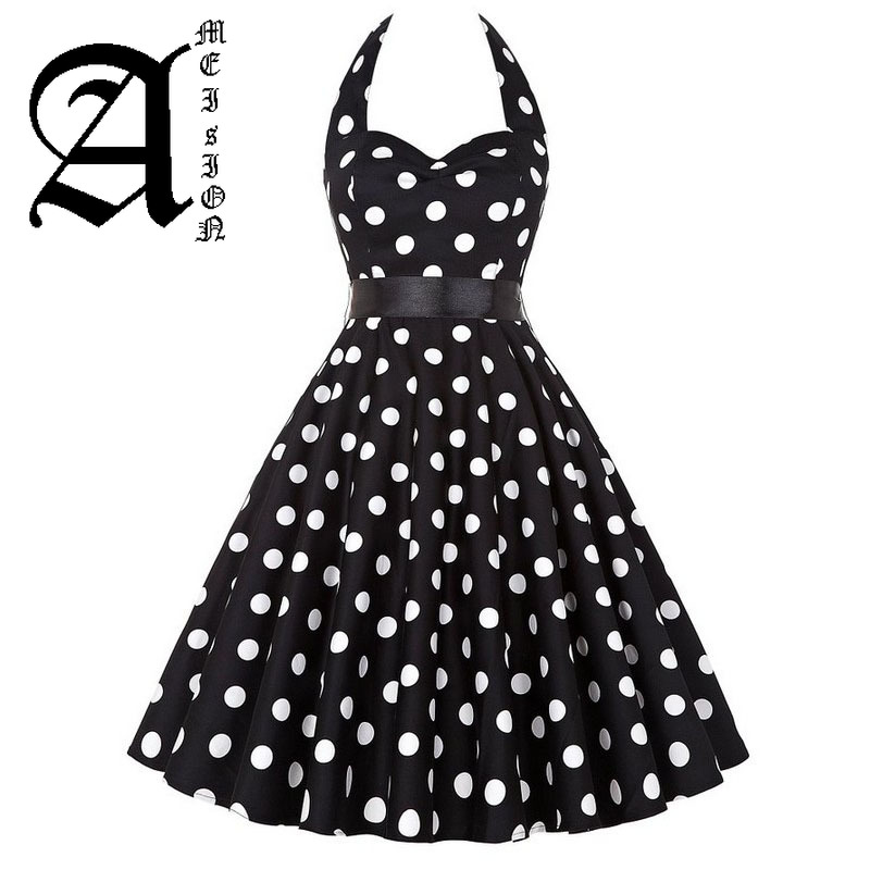 Grande taille robe à pois femmes Vintage Swing Halter ceinture 50s 60s Rockabilly bal robes de soirée rétro Feminino Vestidos